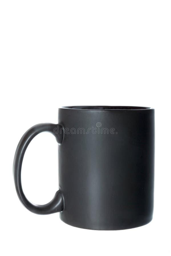 Tazza o tazza nera per caffè, tè o qualsiasi bevanda calda fotografia stock libera da diritti