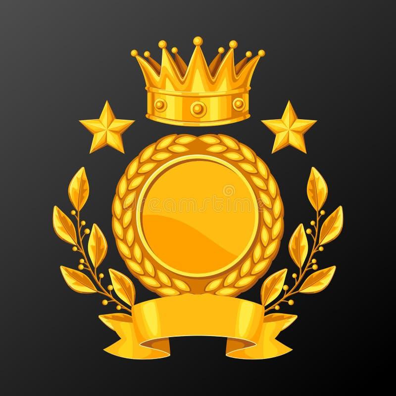 Tazza realistica dell'oro con la corona dell'alloro Illustrazione del premio per gli sport o i concorsi corporativi illustrazione vettoriale
