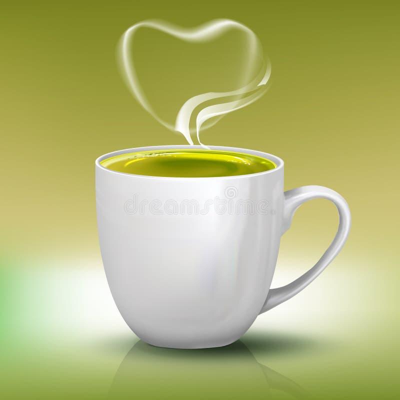 Tazza realistica di tè verde con il vapore di forma del cuore, illustrazione dell'oggetto di vettore illustrazione di stock