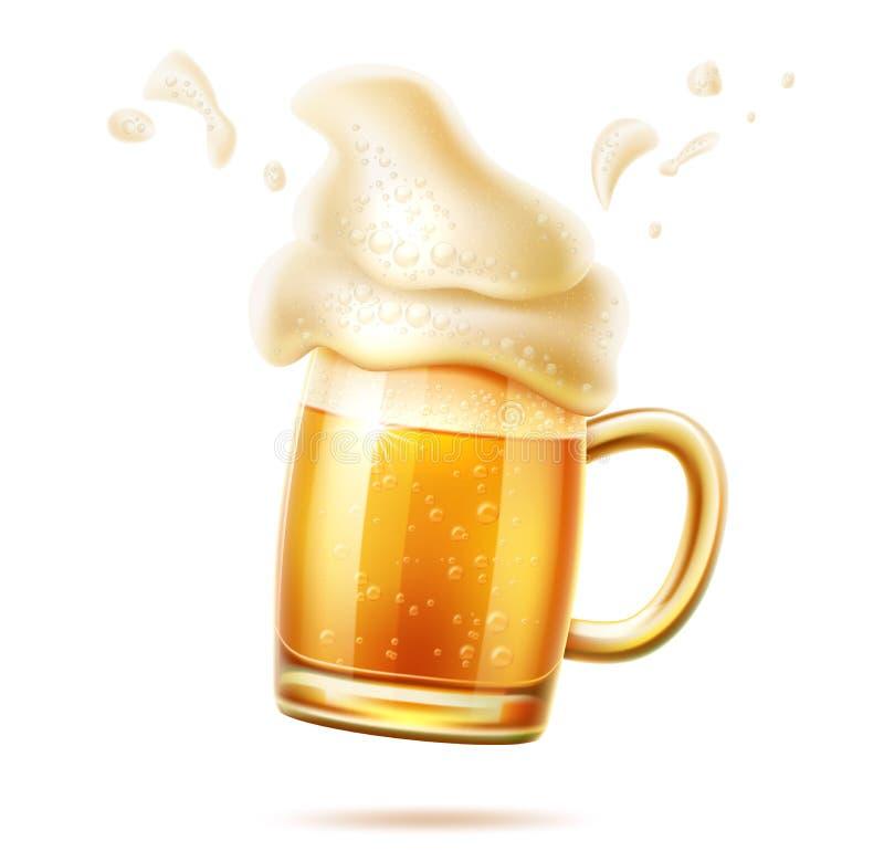 Tazza realistica di vetro di birra di vettore della birra inglese della lager illustrazione di stock