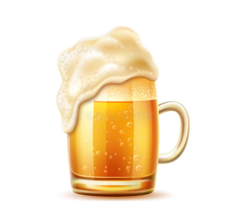 Tazza realistica di vetro di birra di vettore della birra inglese della lager royalty illustrazione gratis
