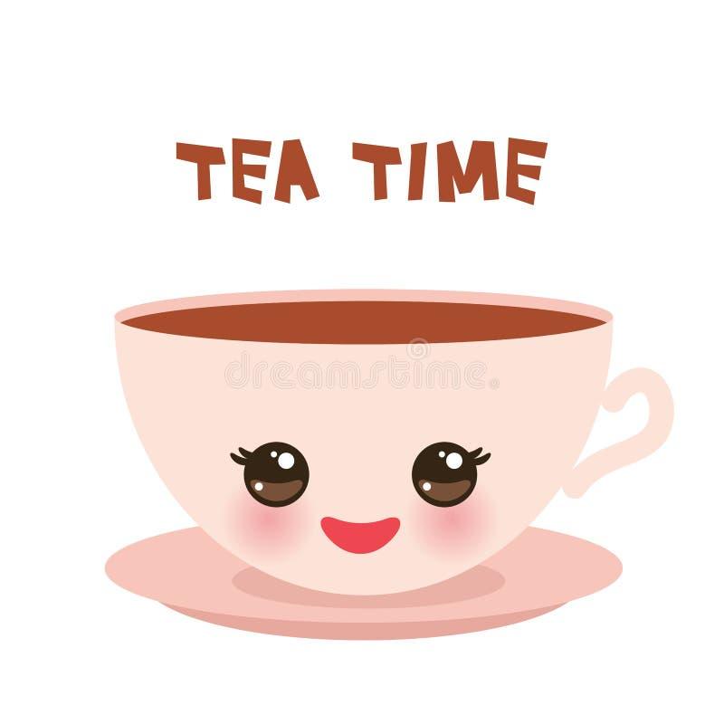 Tazza rosa sveglia di Kawai, isolata su fondo bianco Modello per il vostro testo, progettazione dell'insegna di tempo del tè di c illustrazione di stock