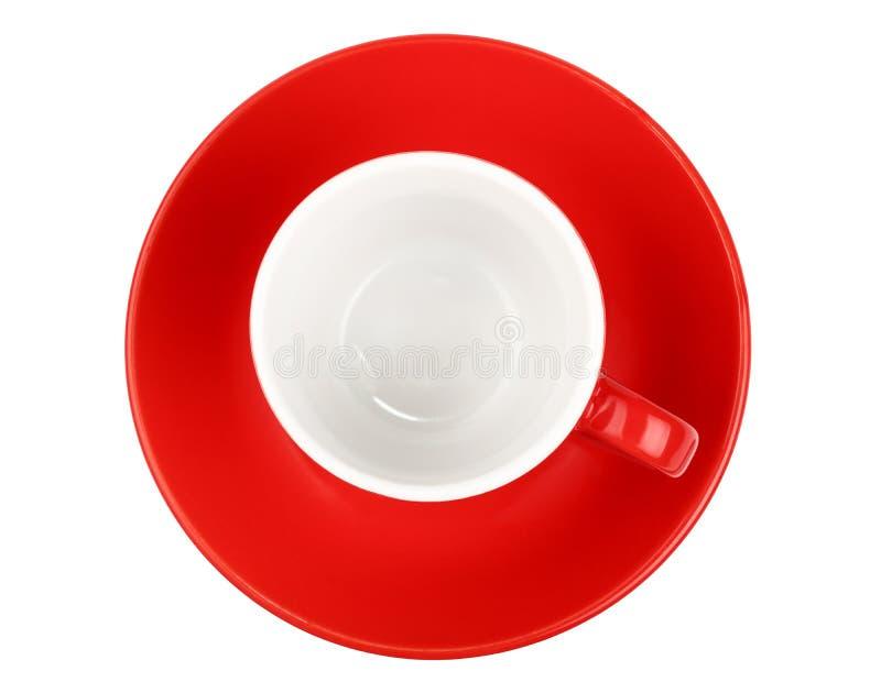 Tazza rossa del caffè vuoto del caffè espresso isolata su bianco fotografia stock