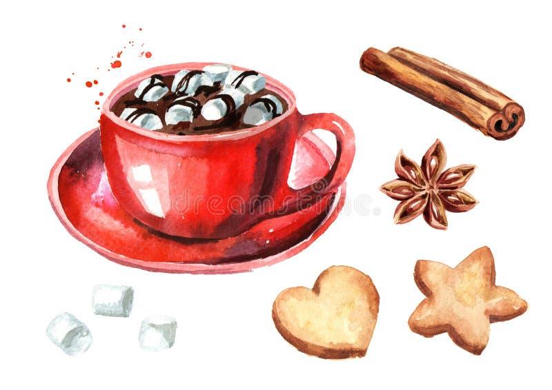 Tazza rossa di cioccolata calda con la caramella gommosa e molle, il bastone di cannella e l'anice stellato ed i biscotti di Nata illustrazione di stock