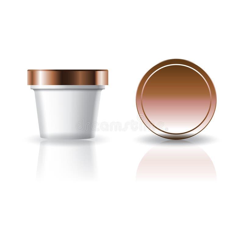 Tazza rotonda bianca in bianco dell'alimento o del cosmetico con il coperchio per l'imballaggio del prodotto royalty illustrazione gratis