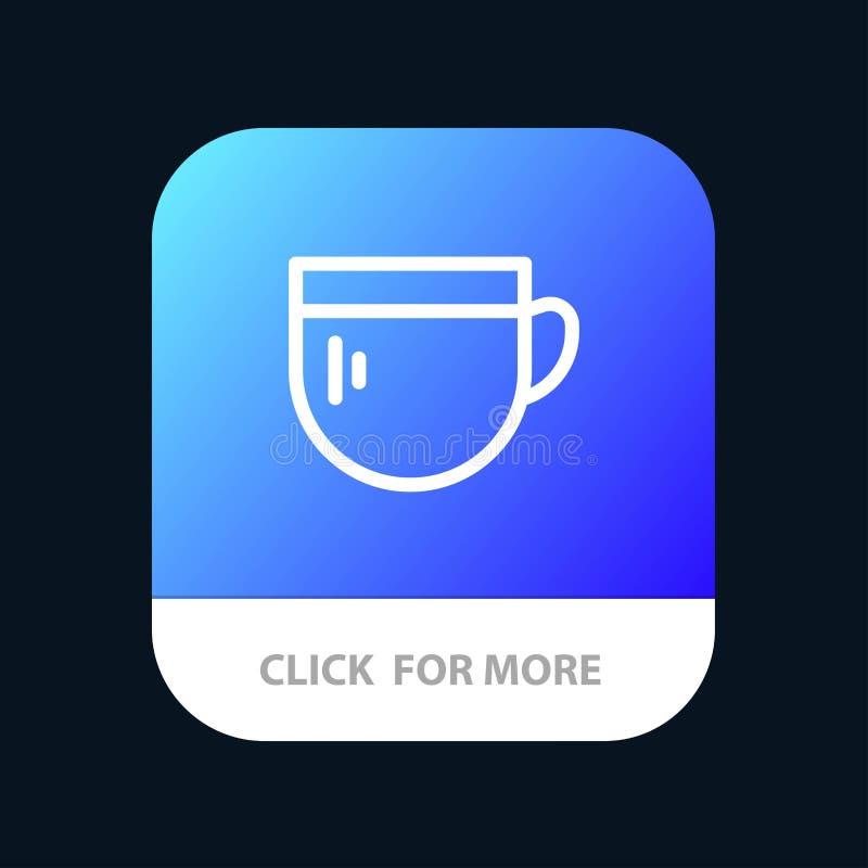 Tazza, tè, caffè, bottone mobile di base del App Android e linea versione dell'IOS royalty illustrazione gratis