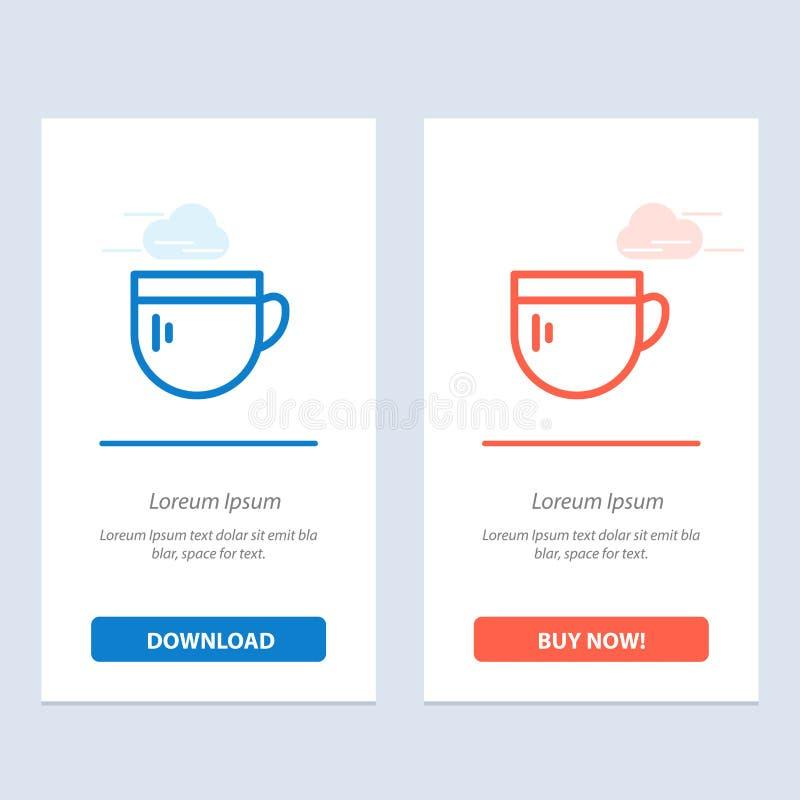 Tazza, tè, caffè, download blu e rosso di base ed ora comprare il modello della carta del widget di web illustrazione di stock