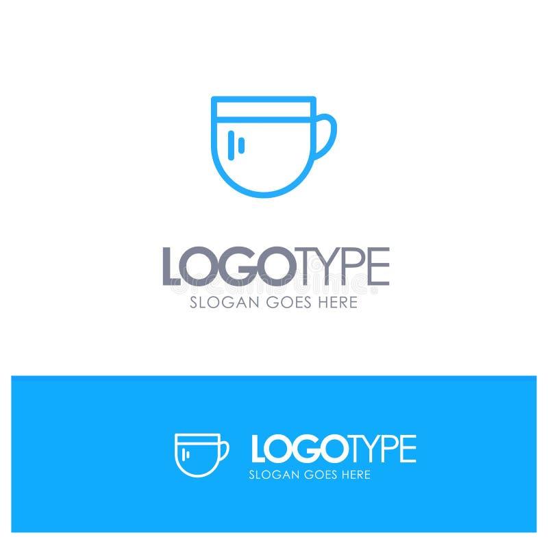 Tazza, tè, caffè, logo blu di base del profilo con il posto per il tagline royalty illustrazione gratis
