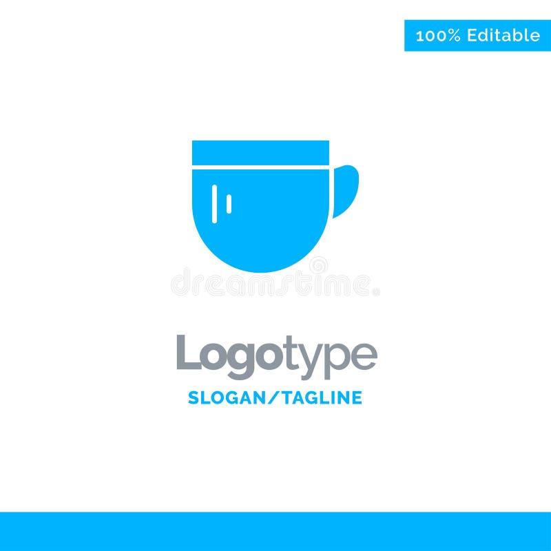 Tazza, tè, caffè, Logo Template solido blu di base Posto per il Tagline illustrazione vettoriale