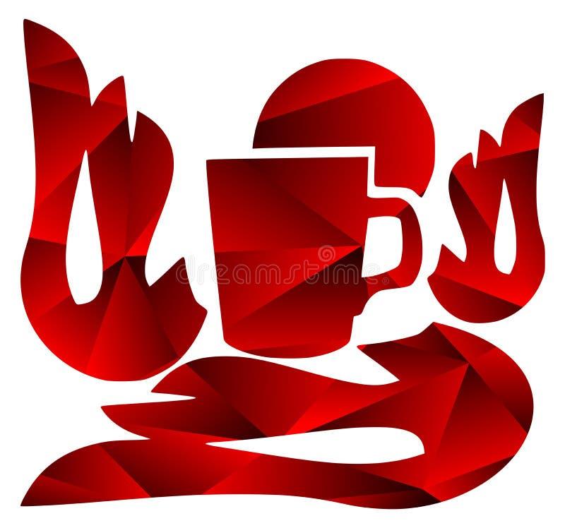Tazza variopinta di caffè nei toni rossi isolato illustrazione vettoriale