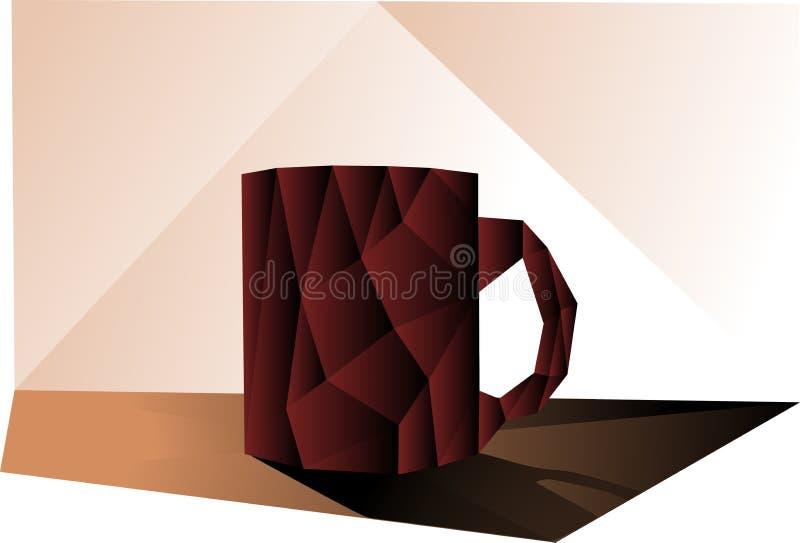 Tazza variopinta di caffè su una tavola illustrazione di stock