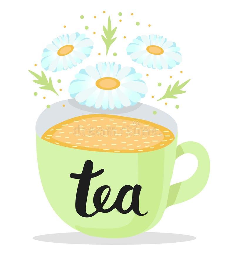 Tazza verde pastello di tè con un fiore di una camomilla e delle foglie verdi Tè dell'iscrizione su una tazza Illustrazione di ve royalty illustrazione gratis