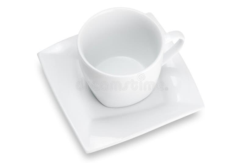 Tazza vuota bianca con il piattino quadrato, vista superiore fotografia stock libera da diritti