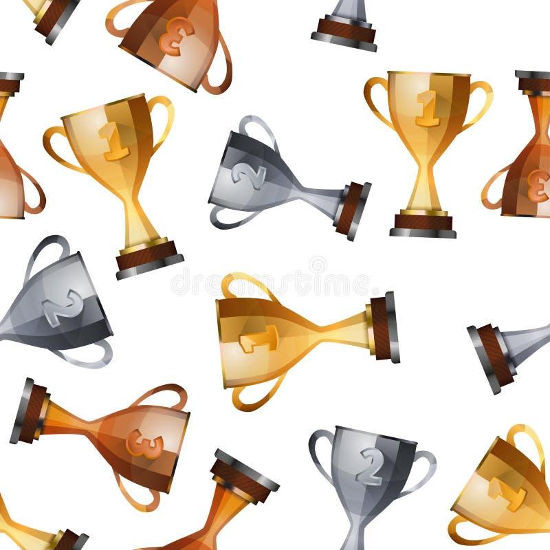 Tazze dei vincitori sul modello senza cuciture del fondo bianco illustrazione vettoriale