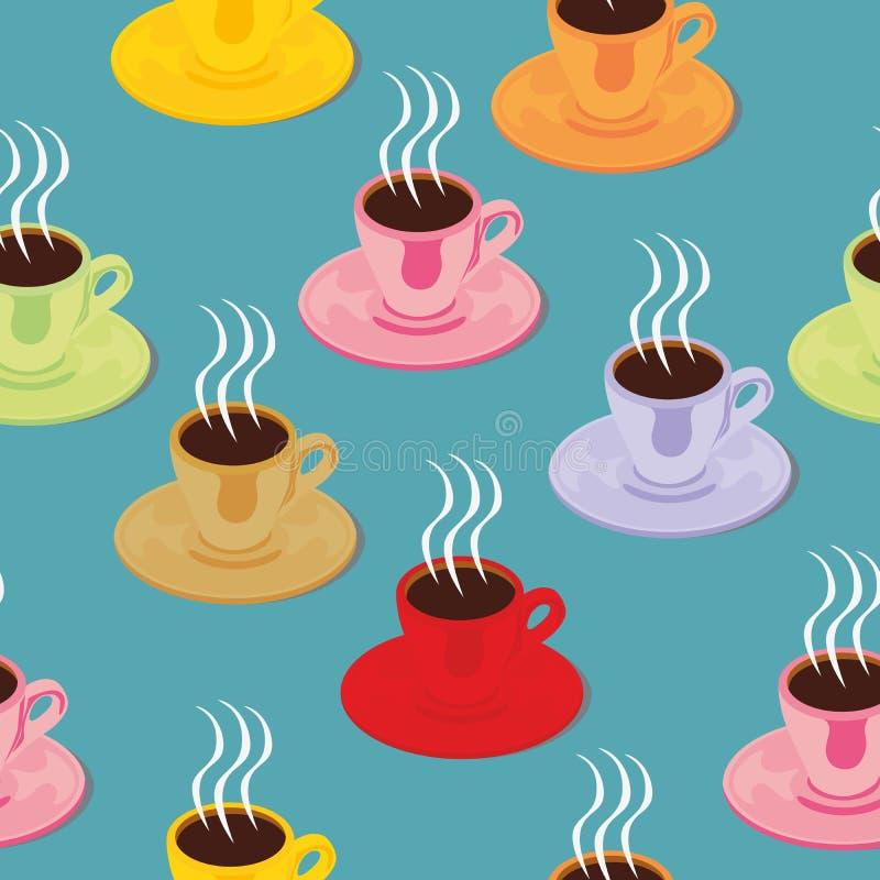 Tazze del caffè espresso isolate reticolo senza giunte royalty illustrazione gratis