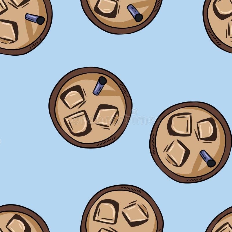 Tazze del caffè freddo della bevanda Modello senza cuciture del fumetto sveglio disegnato a mano Mattonelle del fondo di struttur illustrazione vettoriale