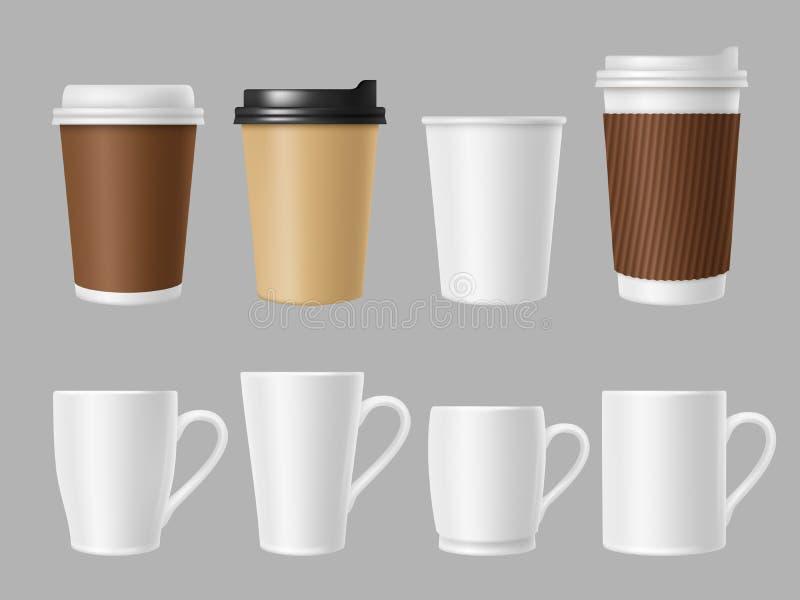 Tazze del modello del caffè Tazze bianche e marroni in bianco per caffè caldo Modello realistico di vettore delle tazze di carta  illustrazione di stock