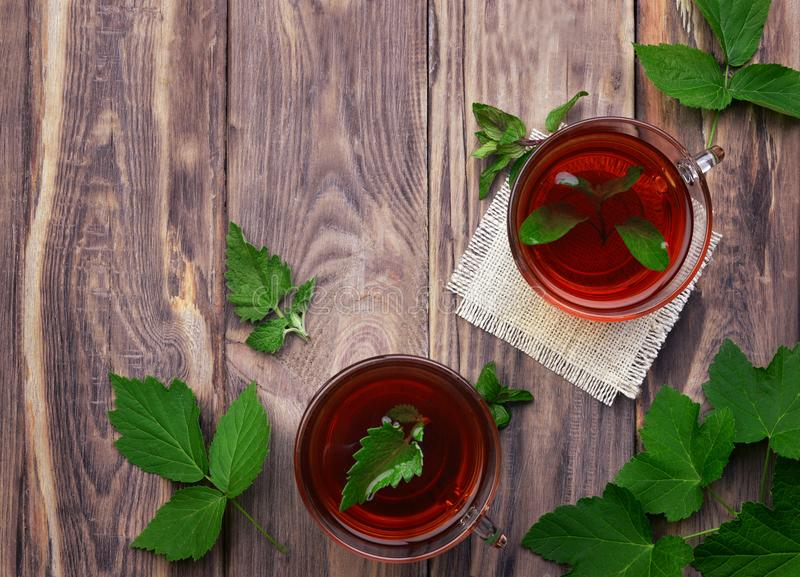 Tazze del tè della menta e foglie della menta sulla tavola Una tazza di tisana su fondo bianco guar fotografia stock