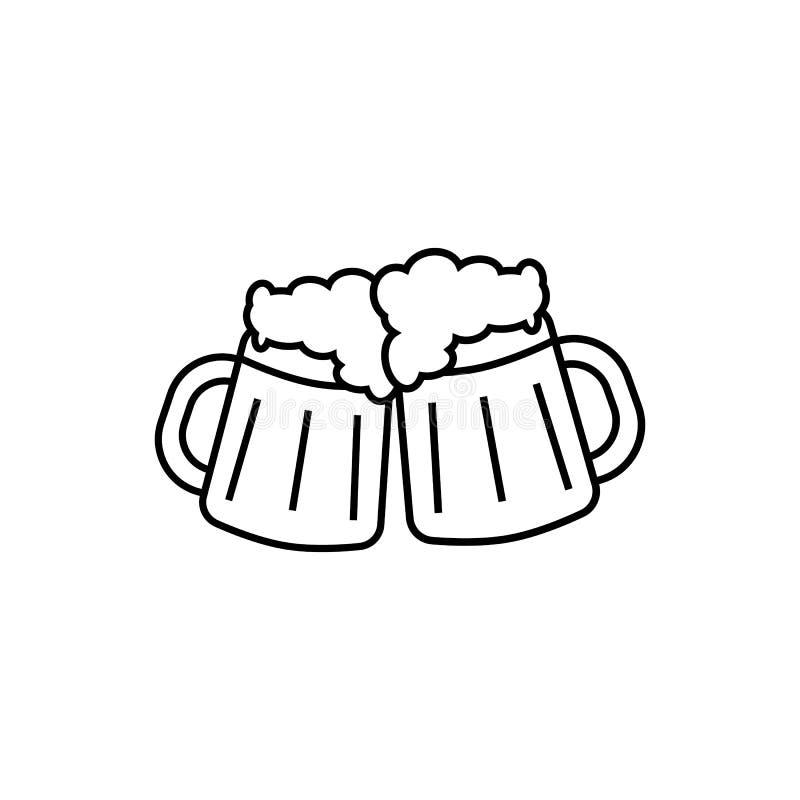 Tazze di birra con schiuma royalty illustrazione gratis