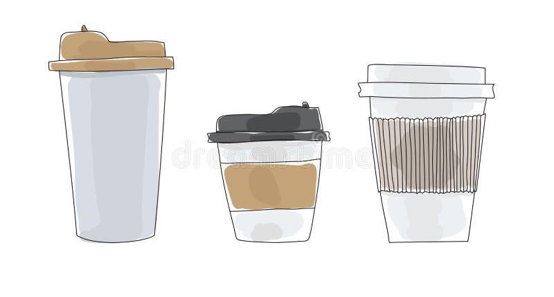 Tazze di caffè da andare illustrazione sveglia di vettore di arte disegnata a mano di carta illustrazione di stock