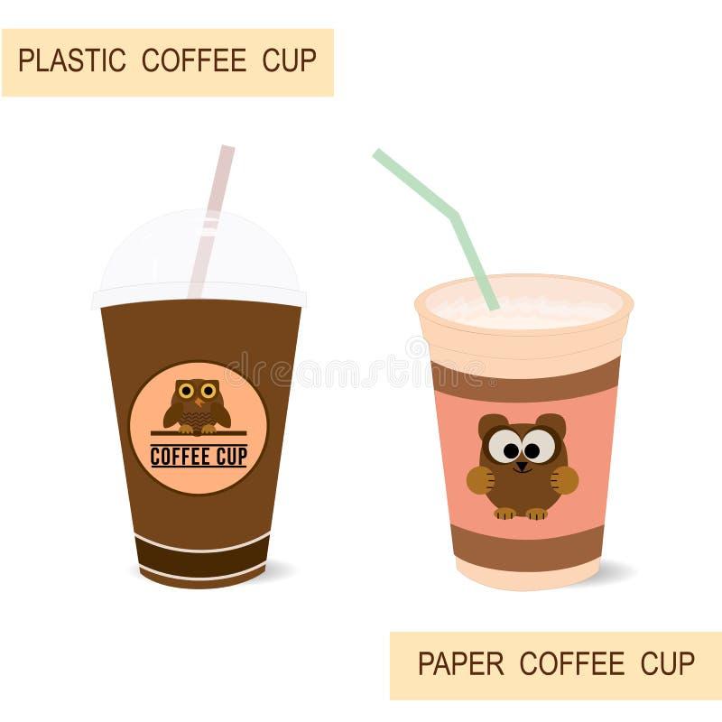 Tazze di caffè della carta e della plastica illustrazione di stock
