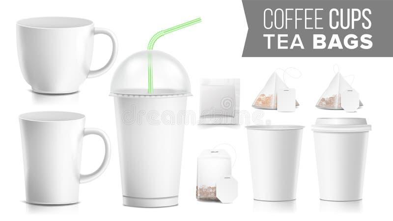 Tazze di carta eliminabili e vettore fissato bustine di tè Di plastica e ceramico Modello da portar via della tazza delle bibite  royalty illustrazione gratis