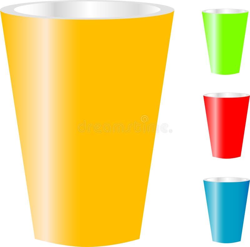 Tazze di vario colore isolate su bianco illustrazione di stock