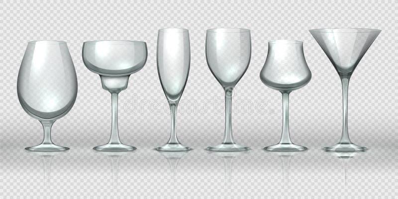 Tazze di vetro realistiche Vetri di vino del cocktail del champagne e calici trasparenti vuoti Cristalleria realistica 3D di vett illustrazione vettoriale