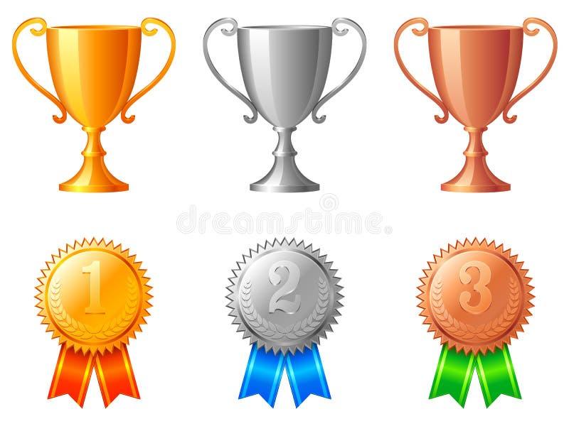 Tazze e medaglie del trofeo. royalty illustrazione gratis