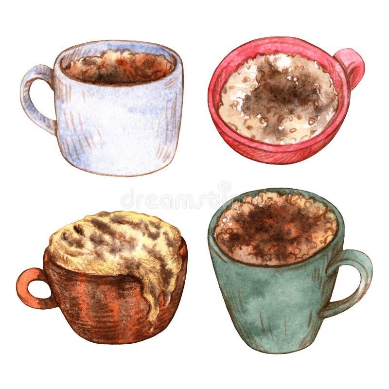 Tazze multicolori dell'acquerello con caffè aromatico illustrazione vettoriale