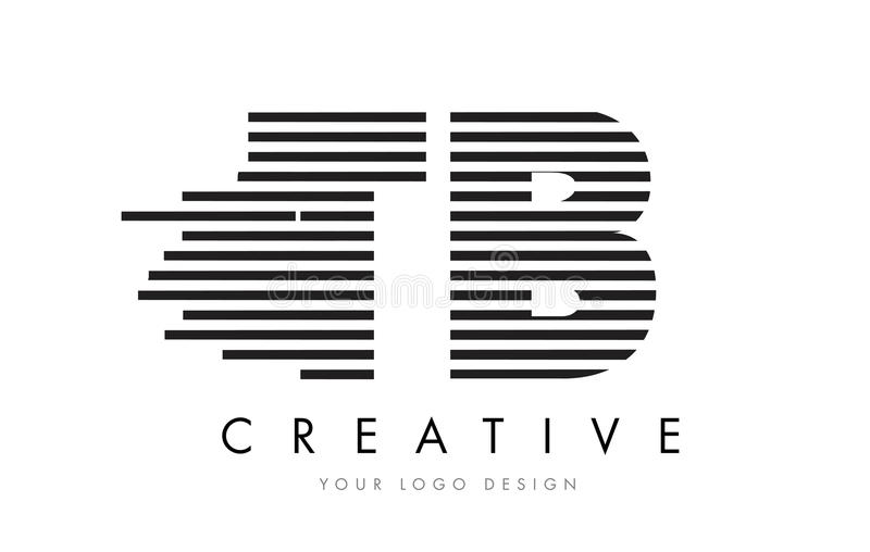 TB T B Zebra Letter Logo Design with Black and White Stripes stock illustration