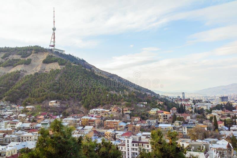 Tbilisi centrum miasta widok z lotu ptaka Gruzja zdjęcie royalty free