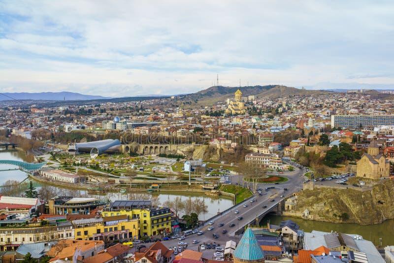 Tbilisi centrum miasta widok z lotu ptaka Gruzja obraz stock