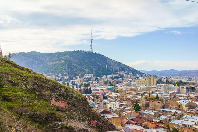 Tbilisi centrum miasta widok z lotu ptaka Gruzja obrazy stock