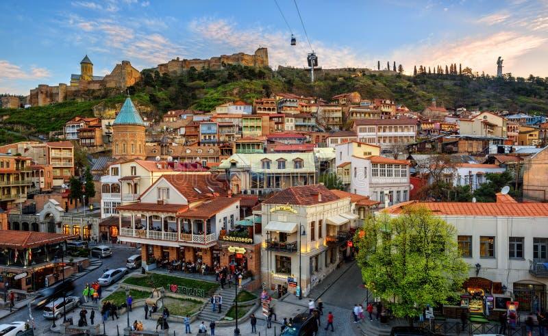 Tbilisi Città Vecchia, capitale di Georgia fotografia stock libera da diritti