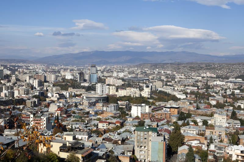 Tbilisi city center aerial view from the mountain Mtazminda, Tbilisi Georgia. TBILISI, GEORGIA - November 04, 2016 : Tbilisi city center aerial view from the stock images