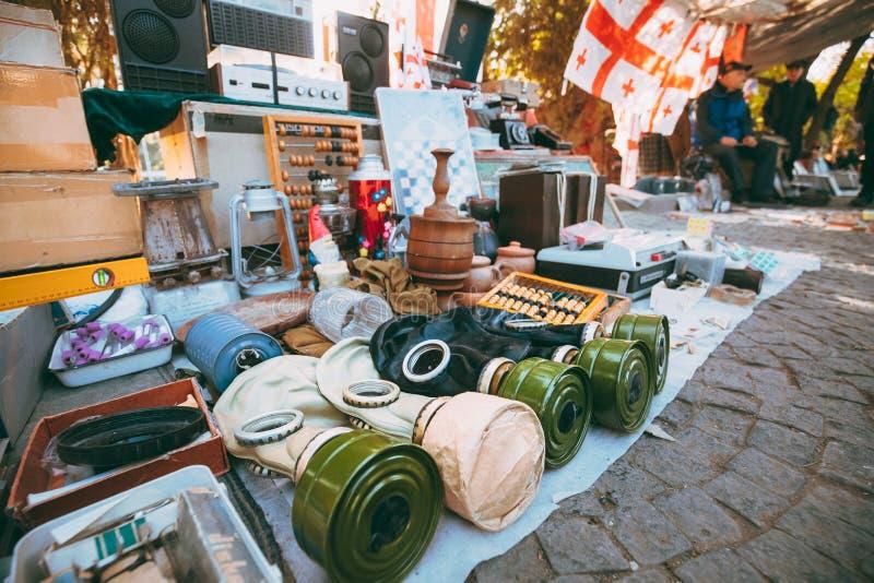 Tbilisi, Georgië Winkelvlooienmarkt van Antiquiteiten Oude Retro Wijnoogst stock foto
