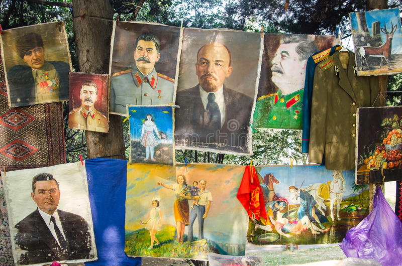 TBILISI, GEORGIA - 6 August 2016 - Collections of vintage soviet union pictures in the flea market. Lenin, Stalin stock image