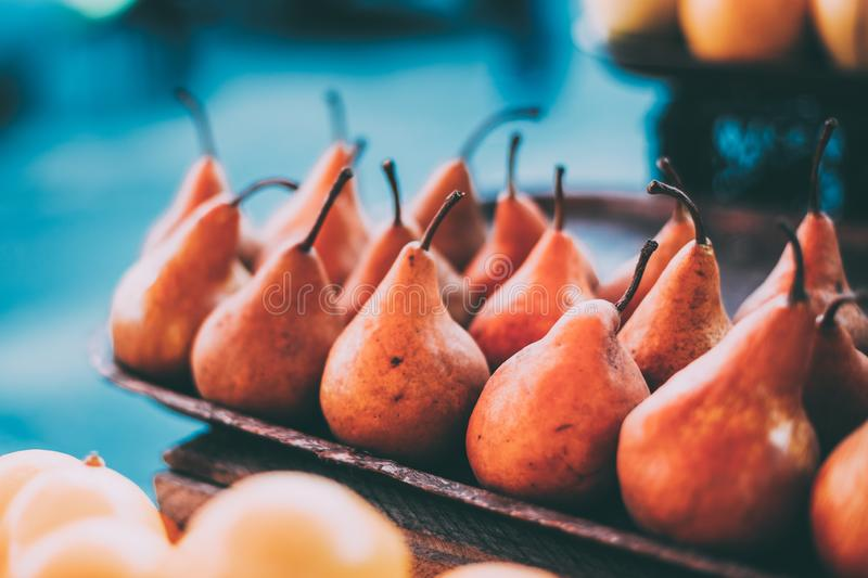 Tbilisi, Georgia. Close View Of Fresh Pears In Tray On Showcase Of Local Food Market, Bazar.  royalty free stock images