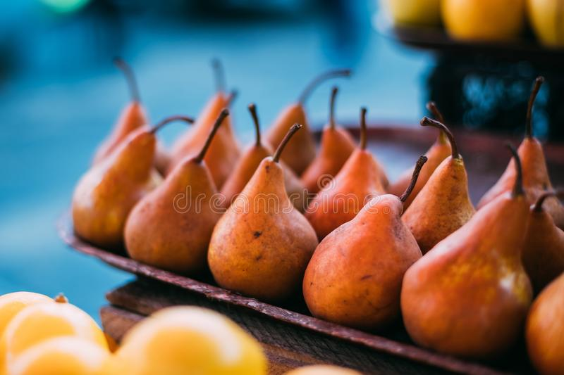 Tbilisi, Georgia. Close View Of Fresh Pears In Tray On Showcase. Of Local Food Market, Bazar royalty free stock photos