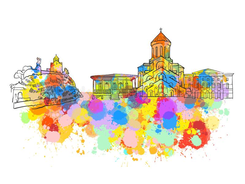 Tbilisi Georgia Colorful Landmark Banner stock illustrationer