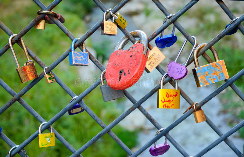 Tbilisi, Georgia. Love locks on ancient brick bridge in abanotubani. stock photography