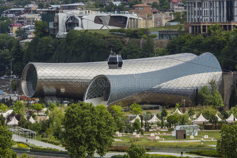 TBILISI, GEORGIA - MAY 07, 2016: Theater of Music and Drama, Exhibition Hall and Presidential Palace are the Modern stock images