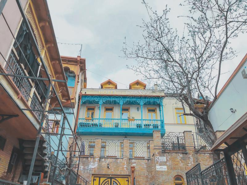 TBILISI, GEORGIA - Murch 29 2019: The old district of the city in Tbilisi, Georgia.The restored area of old Tbilisi, tourist area. TBILISI, GEORGIA - Murch 29 royalty free stock photos