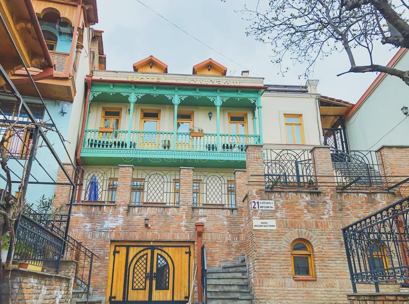 TBILISI, GEORGIA - Murch 29 2019: The old district of the city in Tbilisi, Georgia.The restored area of old Tbilisi, tourist area. TBILISI, GEORGIA - Murch 29 stock photos