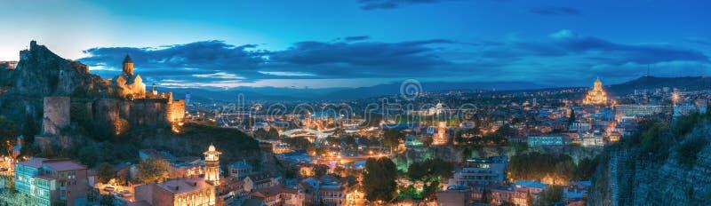Tbilisi, Georgia. Narikala Fortress, Bridge Of Peace, Music Hall. Tbilisi, Georgia. Panorama Of Narikala Fortress, Bridge Of Peace, Music Hall, Metekhi Church royalty free stock photos