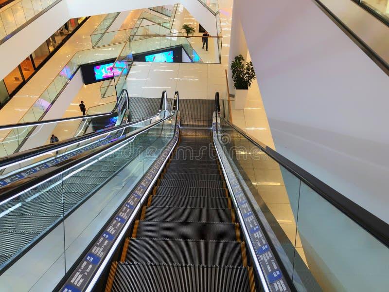 TBILISI, GEORGIA - October 11, 2018: Modern interior, escalator in the shopping mall `Galleria` in Tbilisi, Georgia stock image