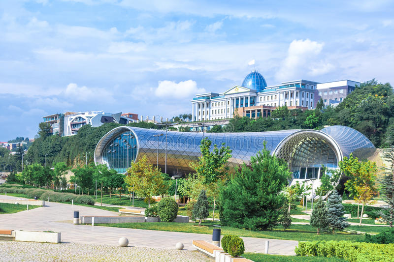 Panoramic view Of Concert Music Theatre Exhibition Hall In Summer Rike Park Tbilisi, Georgia. Beautiful new park in the city cente stock images