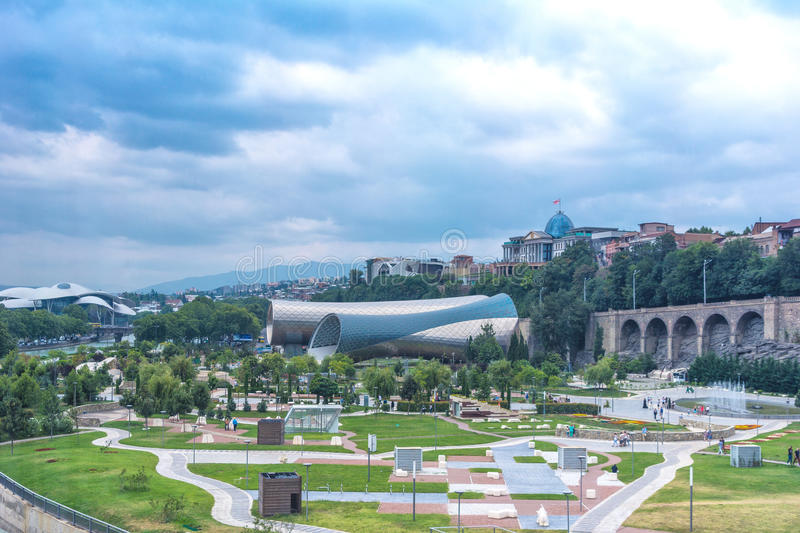 Panoramic view Of Concert Music Theatre Exhibition Hall In Summer Rike Park Tbilisi, Georgia. Beautiful new park in the city cente royalty free stock photos