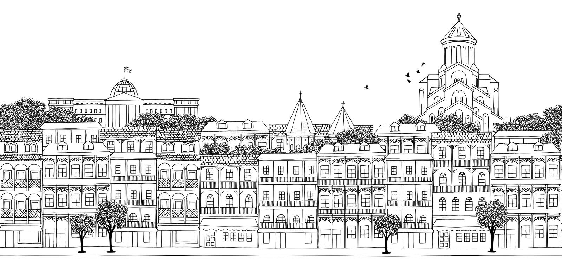 Tbilisi, Georgia - seamless banner of Tbilisi's skyline. Hand drawn black and white illustration vector illustration